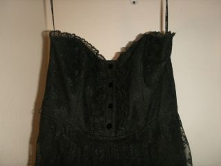 Betsey Johnson Black Victorian Strapless Lace Dress Size US 6 NWT