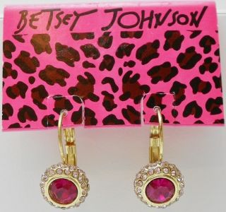 NWT Betsey Johnson Pink Iconic Drop Earrings