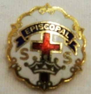 Vintage Little System Episcopal SS Sunday Red Blue White Cross Crown