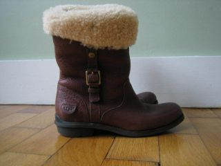 BROWN LEATHER BELLVUE UGG BOOTS SHEEP SKIN LINING SIZE UK 4 5 EU 37 IN