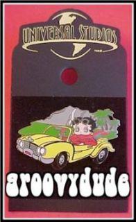 Studios Florida Betty Boop Yellow Sports Car Pin New Mint