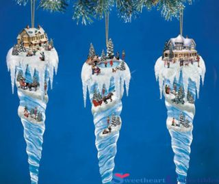 Thomas Kinkade Icicle Village Christmas Tree Ornament