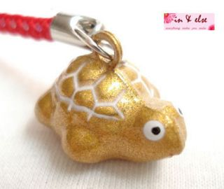 Gold Turtle Bell Mobile Cell Phone Charm Strap 0 7