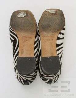 Bettye Muller Brown White Animal Zebra Print Pony Hair Heels Size 38 5