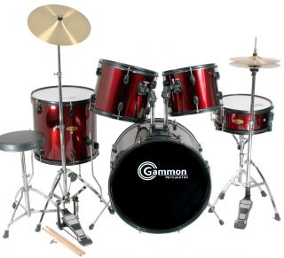 New Complete 5 Piece Adult Drum Set Cymbals Full Size
