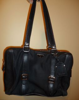 Rare Authentic Prada Satchel Handbag Purse Black Nylon Leather Trim