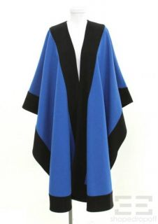 harve benard blue black wool full length cape coat