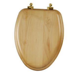 Bemis 19601BR418 Maple Oak Elongated Toilet Seat with Brass Hinges