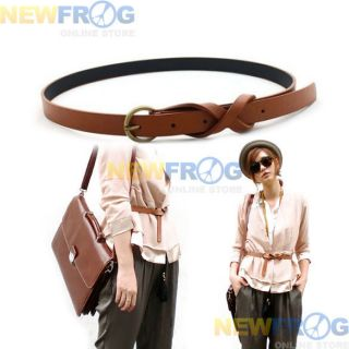 Skinny Thin Ladies Women Brown Leather Belts Fashion L