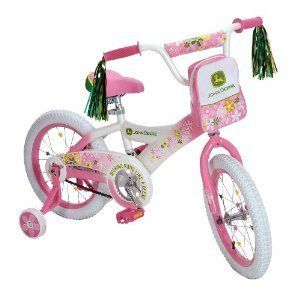 John Deere 16 Girls Bike Bicycle Training Wheels BMX Cycle Ride Kids