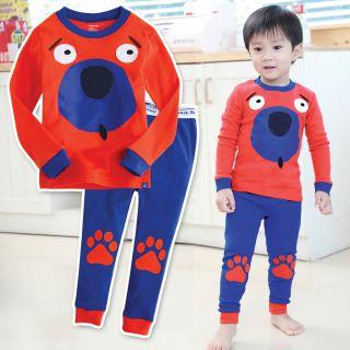 Toddler Kid Boy in Door Sleepwear Pajama Set  Orange Big Dog
