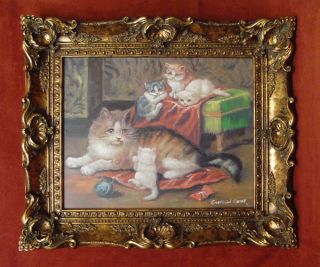 Big Happy Family Cats Art 23x27 Framed Painting 4L3