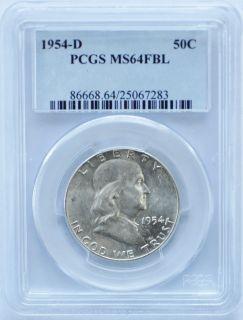 1954 D Benjamin Franklin Half Dollar 50c PCGS MS64FBL