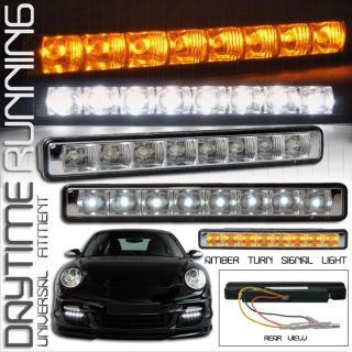 BENZ DRL DRIVING FOG LIGHTS LAMPS WHITE W AMBER SIGNAL LIGHT 6