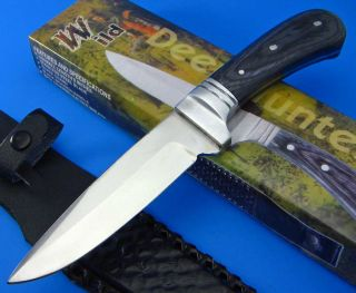 Wild Deer Hunter 9 Fixed Blade Knife Black Wood Handle with Sheath