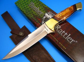 Timber Rattler Full Tang Brown Smooth Bone Handle Hunting Skinning