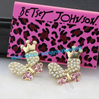 Betsey Johnson Pearls Crystals Inlay Metal Butterfly Ear Studs Animal