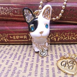 Betsey Johnson Black and White Dog Necklace 058L