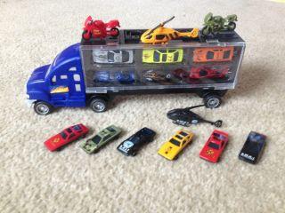 Hot New Toy Truck Big Rig Car Carrier Semi 18 Vehicles Die Cast Wheels