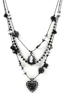 Betsey Johnson Jewelry Iconic Jet Crystal Layer Necklace New 2012