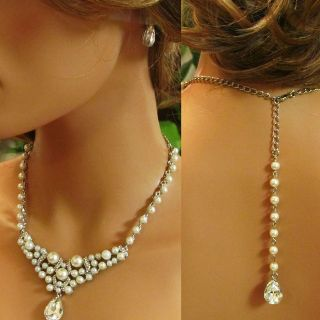 Handmade Bridal Crystal Pearl Back Drop Statement Necklace Earrings