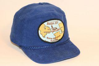 Vintage 80s BERING AIR Airline Patch Corduroy Snapback hat Cap NOME