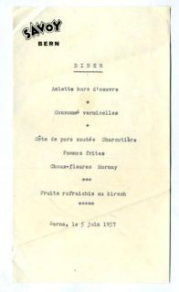 hotel savoy dinner menu bern switzerland 1957 a single page dinner