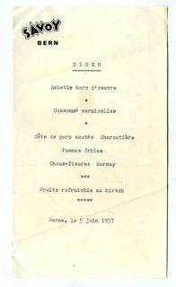 hotel savoy dinner menu bern switzerland 1957 a single page dinner
