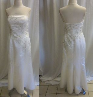 MIKE BENET FORMALS DRESS WEDDING GOWN BEADED LINED BRAS BUILT IN WHITE