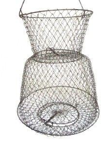 Vintage Fish Basket Metal Wire Mesh Net w 2 Spring Loaded Trap Door