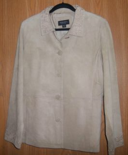 BERNARDO BEIGE WASHABLE SUEDE LEATHER JACKET COAT LADIES SIZE 14 GREAT