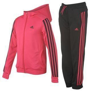 adidas 3 Stripe Girls Full Tracksuit Bottoms & Top Jacket Aged 7 13