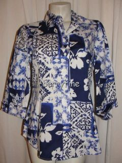BFS11 Coldwater Creek Size M 10 12 Blue White 3 4 Cuffed Sleeve Blouse