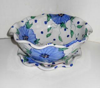 Jan Pugh Packer Creek Pottery Majolica Blue Zinnia Berry Strainer Bowl