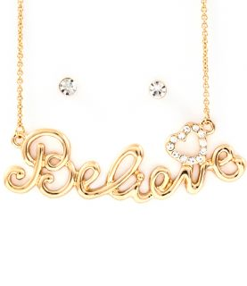 Believe Ladies Necklace Gold Tone Crystal Pendant & Earrings Set
