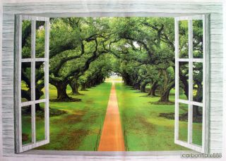 3D Window Forest Trees Wall Stickers Art Decals Mural Wallpaper Office