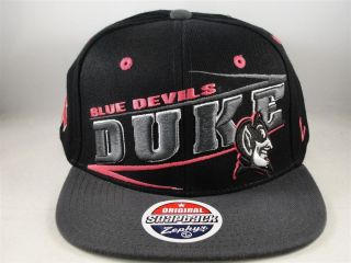 NCAA Duke Blue Devils Zephyr Flat Bill Snapback Hat Cap Zig Zag Pink