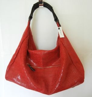 Lola Bernard Modena Hobo Leather Purse Handbag Croc Embossed Cherry