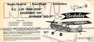Vintage L 19 Bird Dog Large Berkeley RC Model Kit Plan