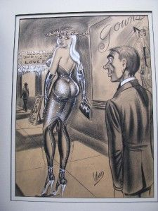 Bill Ward Playboy Femdom Humorama Charcoal Painting Illustration Art