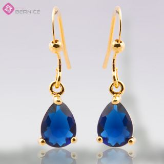 Blue Sapphire Yellow Gold GP Earings Dangle Earrings