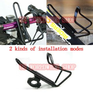 Bike Bicycle Handlebar Cages Black Aluminum Alloy Water Bottle Holder