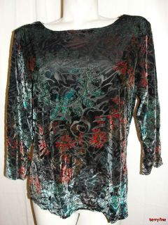 BFS11 Coldwater Creek Colorful Velour Burn Out 3 4 Sleeve Blouse Shirt