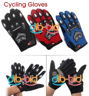 Bicycle Bike Full Finger Cycling Gloves Pad Mesh w Gel