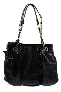 Betsey Johnson Black Sequined Double Chain Strap Tote Handbag Large