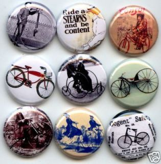BICYCLES BIKES Vintage Antique Cycles Bike Bicycle 9 PINS BUTTONS