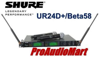 Shure UR24D BETA58 Dual Channel Handheld Wireless System New Free SHIP