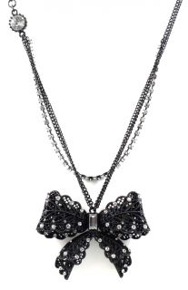 Betsey Johnson Jewelry Iconic Jet Crystal Bow Necklace New 2012