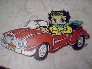 Betty Boop Hand Painted Wall Art Plaque Wood
