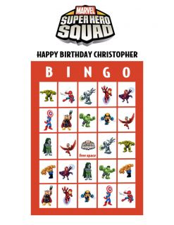 Marvel Super Hero Squad Personalized Bingo PDF Game Set
